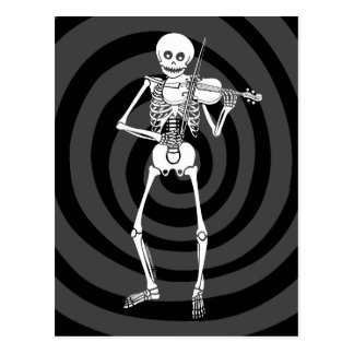 Violin Playing Skeleton Postcard