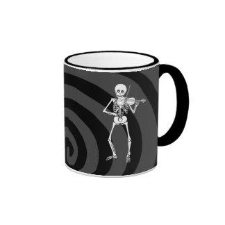 Violin Playing Skeleton Ringer Coffee Mug