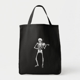 Violin Playing Skeleton Tote Bag