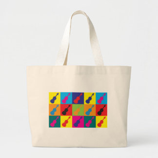 Violin Pop Art Large Tote Bag