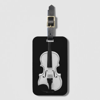 Violin Portrait - Black and White Photograph Luggage Tag