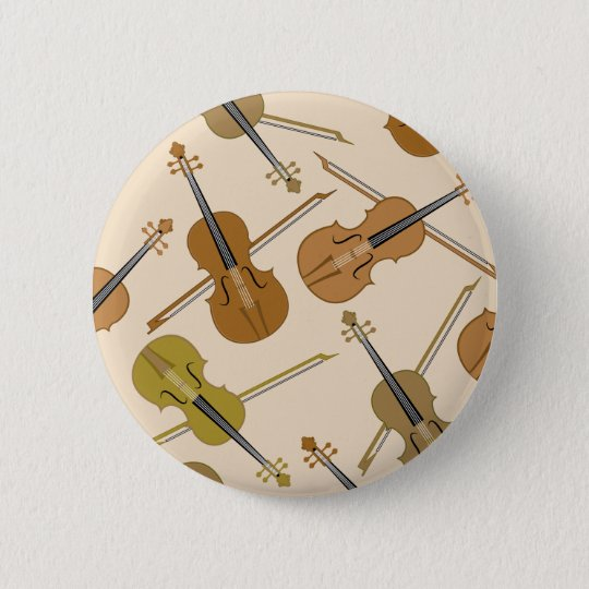 Violin Print Pattern 6 Cm Round Badge