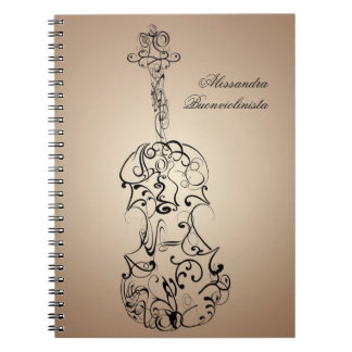 Violin Scrawl Spiral Notebook