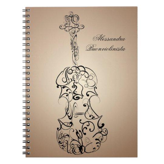 Violin Scrawl Spiral Notebook