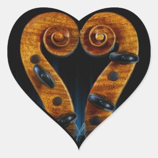 Violin Scroll Pegs Heart Heart Sticker