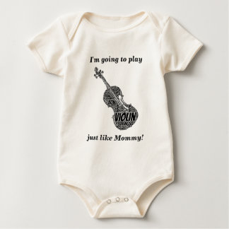 Violin Shaped Word Art Black Text Baby Bodysuit