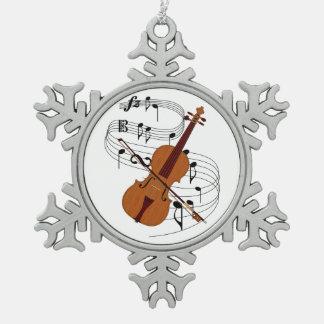 Violin Snowflake Pewter Christmas Ornament