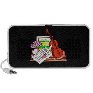 Violin Still Life with music graphic design Mini Speakers