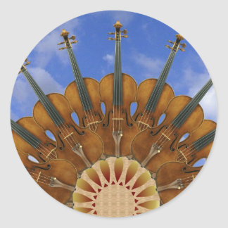 Violin Sunflower Classic Round Sticker