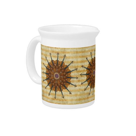 Violin Sunflowers on Golden Stripes Creamer Beverage Pitchers
