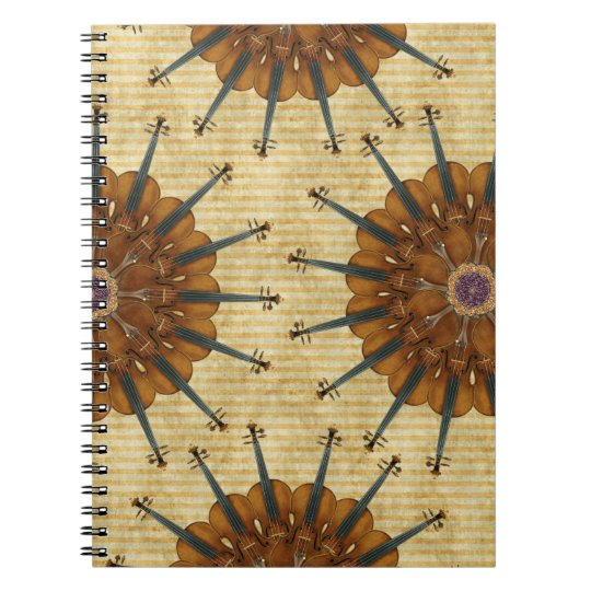 Violin Sunflowers Spiral Notebook