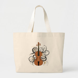Violin Swirls Large Tote Bag