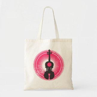 Violin Tote Bag-Violin Badge Red and Black