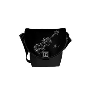 Violin White Line Drawing, Customizable Initials Courier Bags