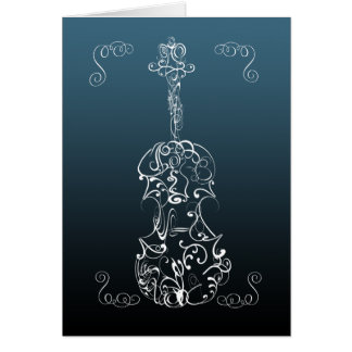 Violin White Line Drawing on Blue Greeting Card