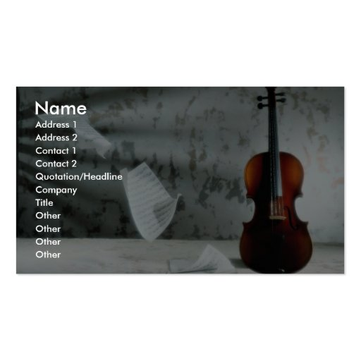 Violin with music sheets floating business card template