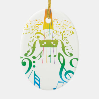 Violin with Notes 2 Christmas Ornament