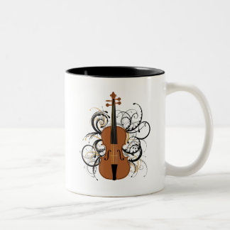 Violin with Swirls Two-Tone Coffee Mug