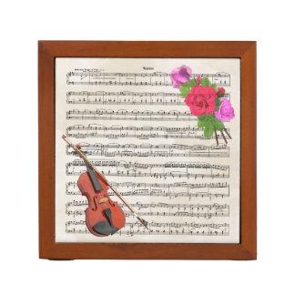 Violin With Vintage Sheet Music and Roses Desk Organiser
