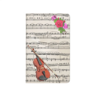 Violin With Vintage Sheet Music and Roses Journal
