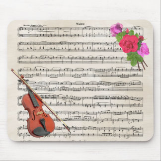Violin With Vintage Sheet Music and Roses Mouse Mat