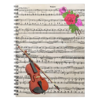 Violin With Vintage Sheet Music and Roses Notebooks