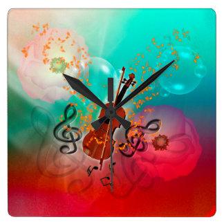 Violin with violin bow square wall clock