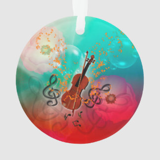 Violin with violin bow with clef and key notes ornament