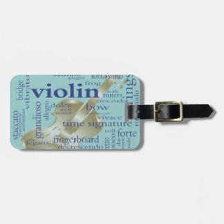 Violin Words Luggage Tag