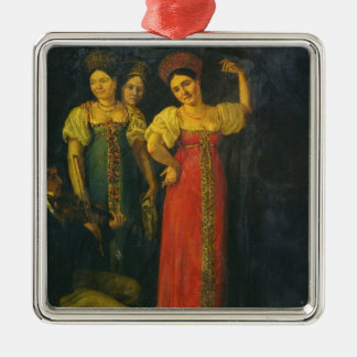 Violinist and three women dancing christmas ornament