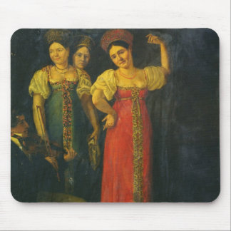 Violinist and three women dancing mouse mat