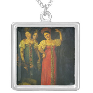 Violinist and three women dancing silver plated necklace