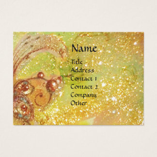 VIOLINIST GIRL VIOLIN AND CAT/MAGIC GOLD BUTTERFLY BUSINESS CARD