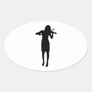 Violinist girl woman oval sticker