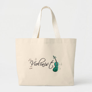 Violinist Teal Green Large Tote Bag