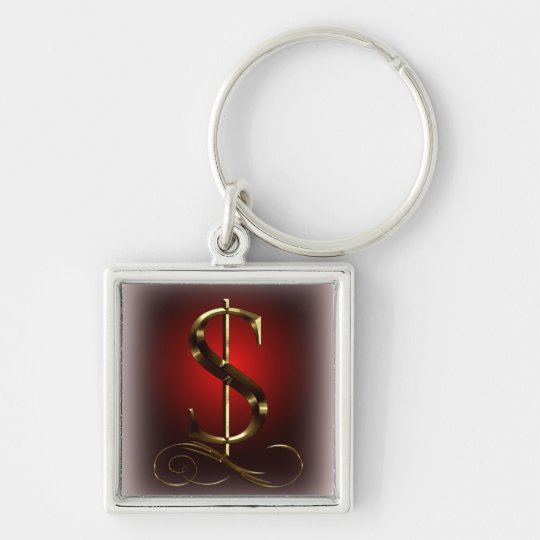 $ VIP Gold  in red and black Silver-Colored Square Key Ring