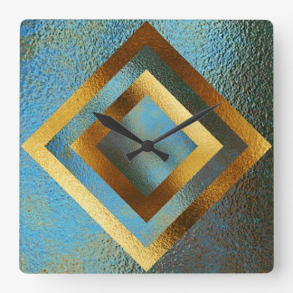 Vip Golden Green Grungy Shiny Geometric Clock