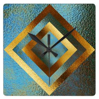 Vip Golden Green Grungy Shiny Geometric Clock
