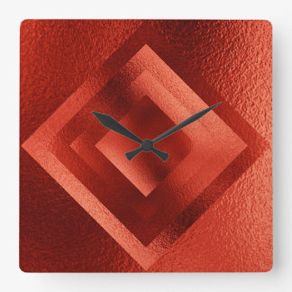 Vip Golden Red Grungy Shiny Geometric Clock