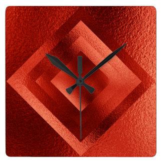 Vip Golden Red Grungy Shiny Geometric Clock