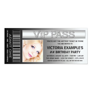 VIP Pass Admission Ticket Birthday Party 10 Cm X 24 Cm Invitation Card