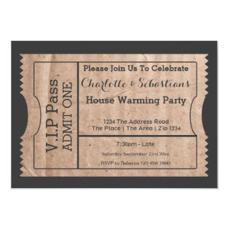 VIP Pass House Warming Cardboard Themed Ticket 13 Cm X 18 Cm Invitation Card