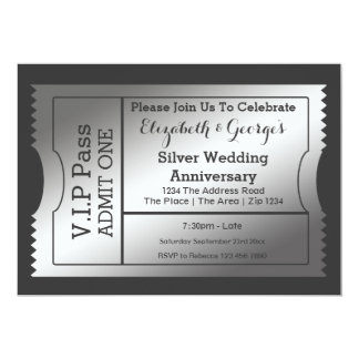 VIP Pass Silver Wedding Anniversary Ticket Card