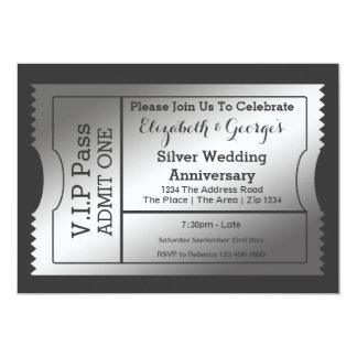 VIP Pass Silver Wedding Anniversary Ticket 13 Cm X 18 Cm Invitation Card