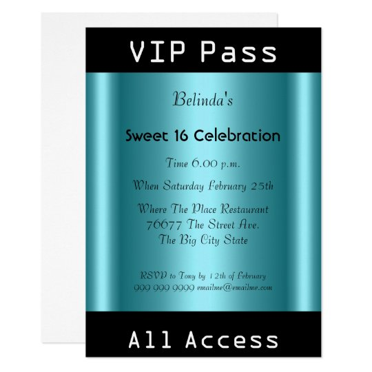 VIP pass Sweet 16 Birthday Party Black Teal Card