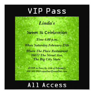 VIP pass Sweet 16 Birthday Party Lime 2 13 Cm X 13 Cm Square Invitation Card