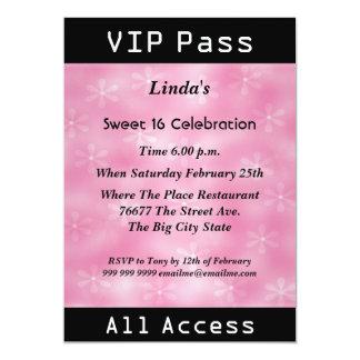VIP pass Sweet 16 Birthday Party Pink 13 Cm X 18 Cm Invitation Card