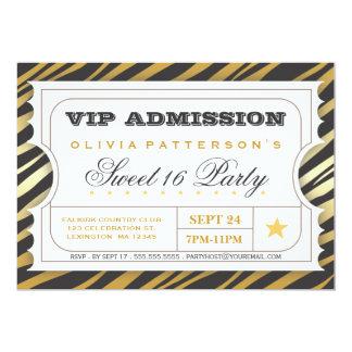 VIP Ticket Zebra Glam Sweet 16 Birthday Party 13 Cm X 18 Cm Invitation Card