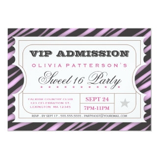 VIP Ticket Zebra Glam Sweet 16 Birthday Party Card