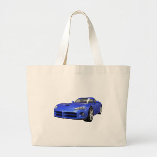 Viper Hard-Top Muscle Car: Blue Finish Large Tote Bag